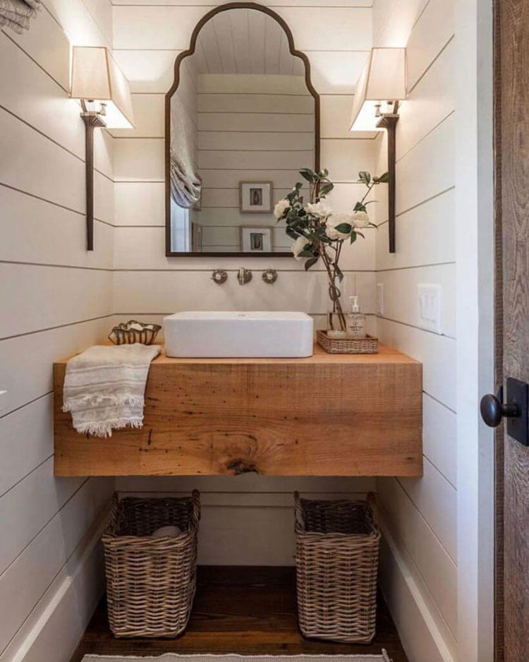 Small Rustic Bathroom with White Wood Paneling and Light Wood Vanity