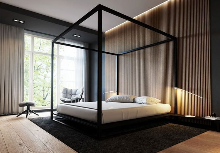 Spacious and Open Bedroom with Canopy Bed