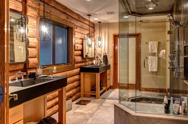 Upscale Rustic Bathroom with Grand Light Fixtures and Large Shower