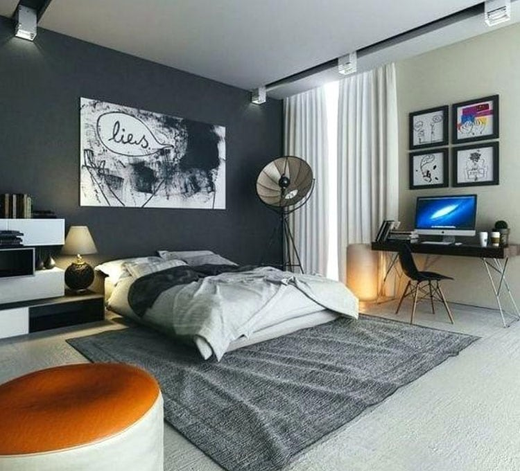 Young Men's Bedroom with Awesome Colors and Unique Room Decor