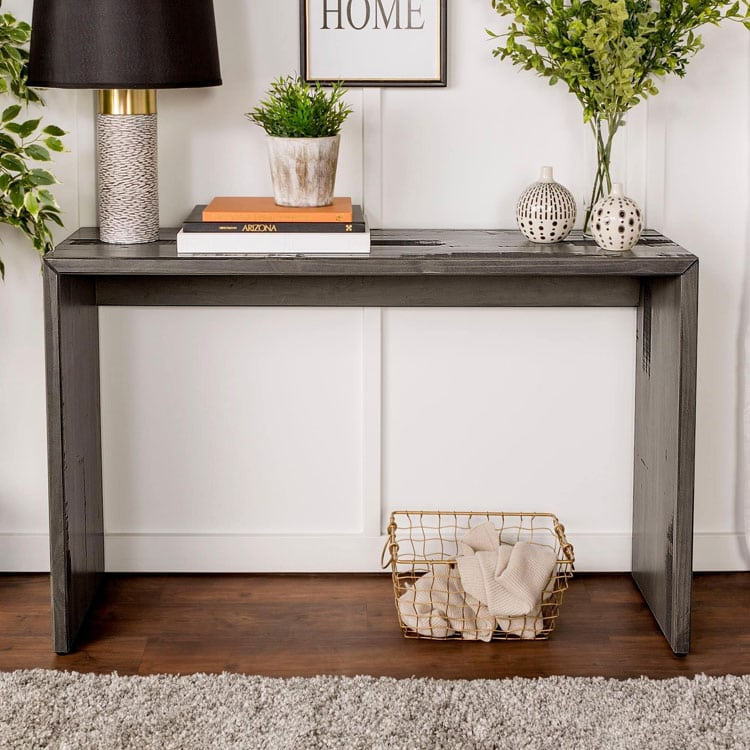Basic Reclaimed Wood Entry Table Idea with Metallic Finish