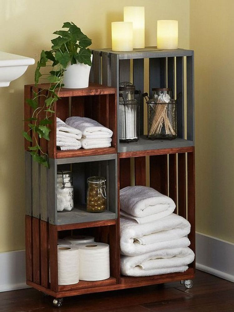 Bathroom Cabinet Ideas For Small Bathroom with Recycled Crate Storage