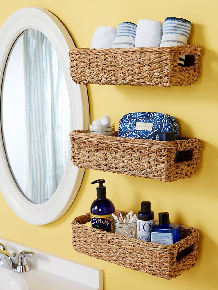 Bathroom Storage Hanging Baskets on Wall