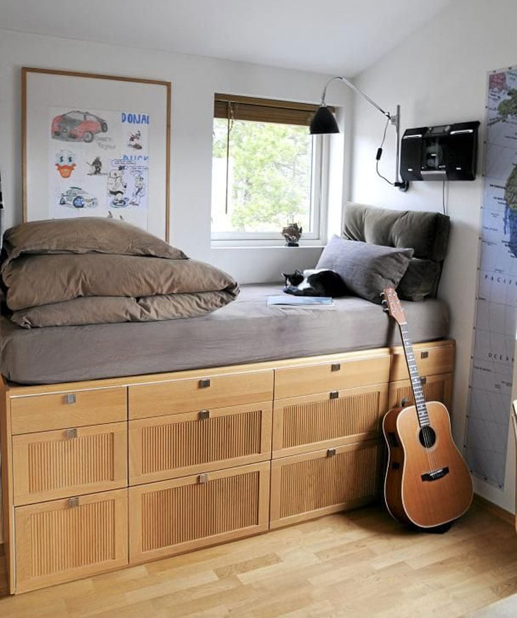 Bedroom Decor For Teenage Guys with Small Rooms - Bed with Built-In Storage Space