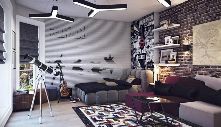 Modern Tween Boy's Bedroom with Lounging Area