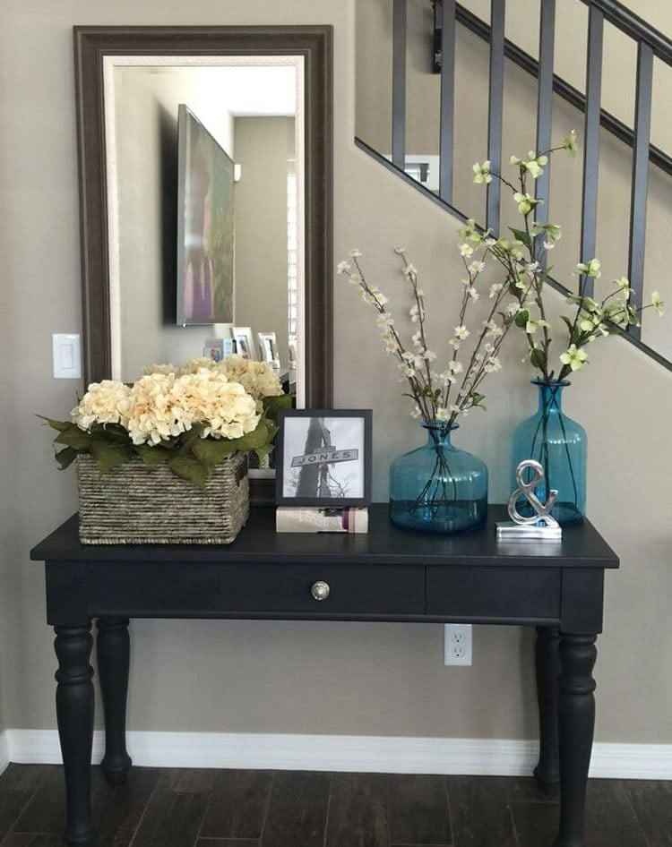 Black Entry Table with Pops of Color