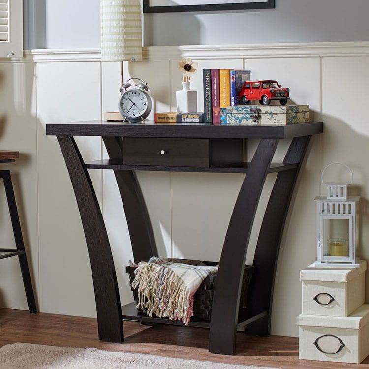 Black Entry Table with Colorful Décor and Unique Shape