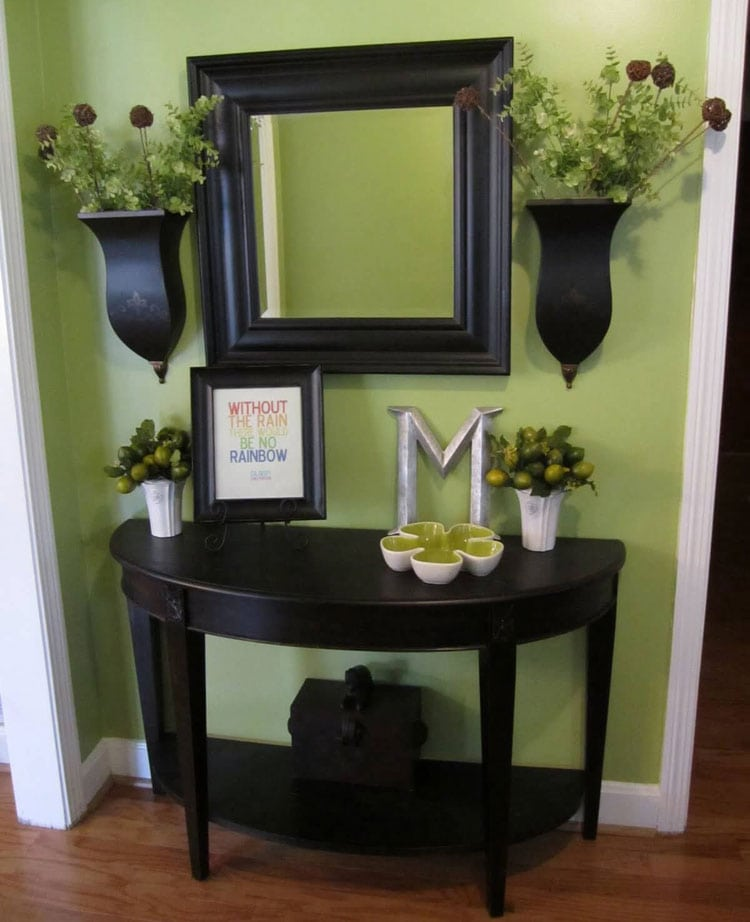 Black Half Table with Matching Mirror and Planters