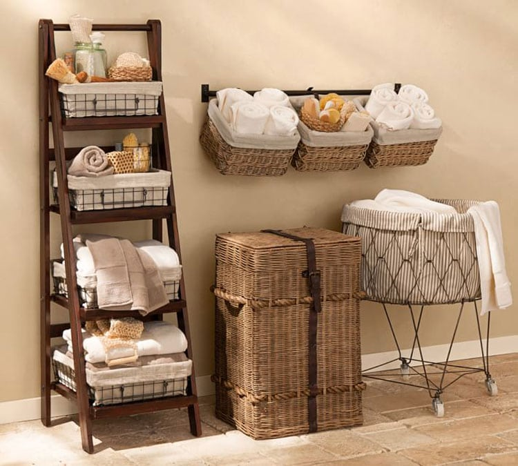 Chic Basket and Ladder Shelves For Maximum Bathroom Storage Space