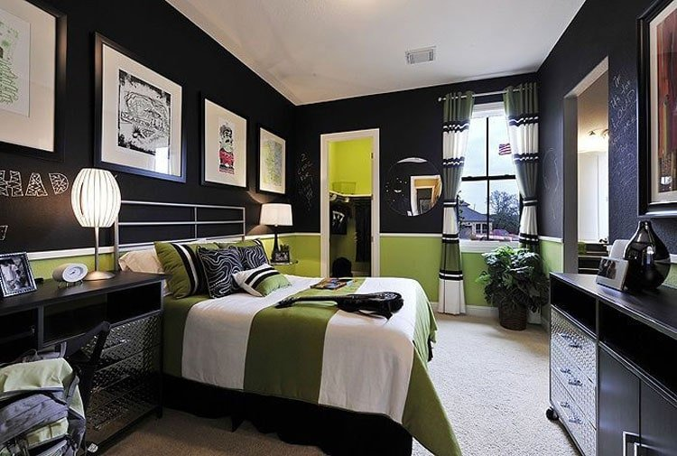 Chic Teenage Guys Bedroom with Awesome Artistic Decorations