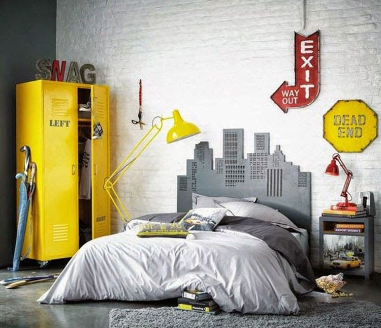 Cool Teenage Guys Room Ideas Bright Locker, Manly Bed Set, and Unique Wall