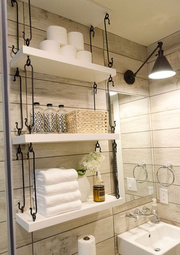 Creative Tiny Bathroom Storage with Interesting DIY Shelves