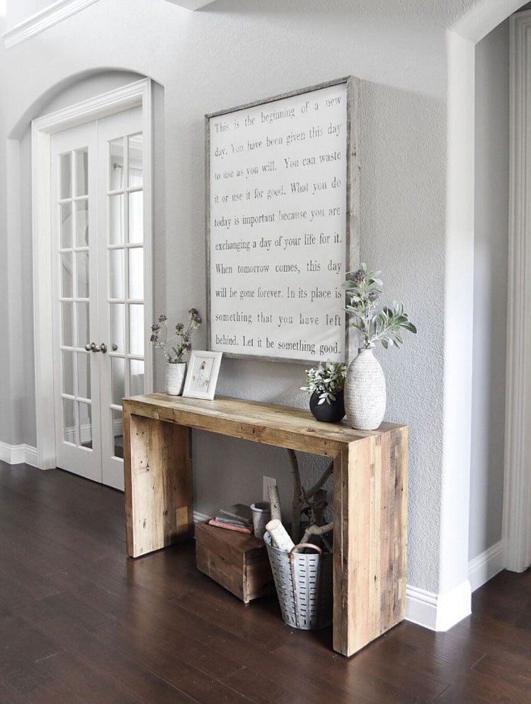 Easy DIY Table with Cool Wall Art For Small Foyer