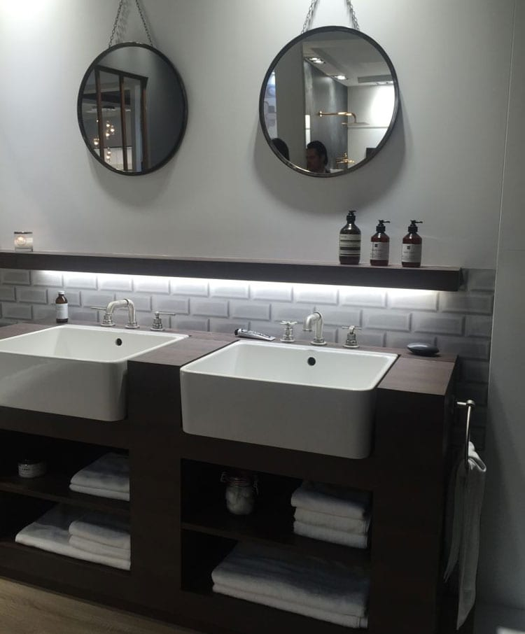 Dual Bathroom Sinks with Cool Vanity and Shelf Storage