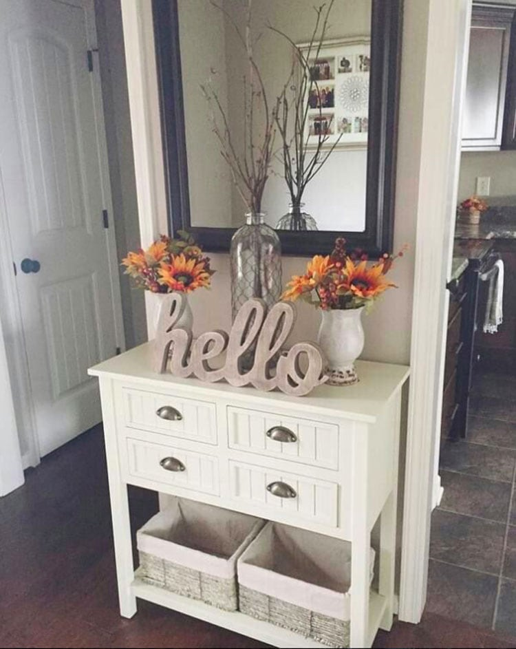 Small Entryway Table with Carved Greeting