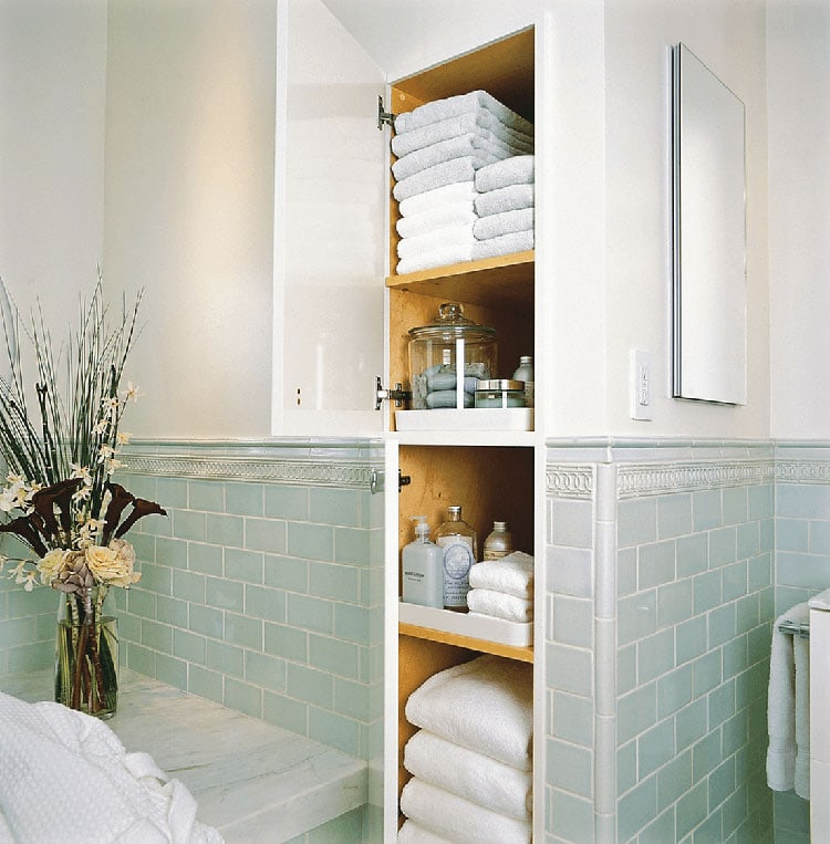 Gorgeous Shelves in Wall for Small Bathroom