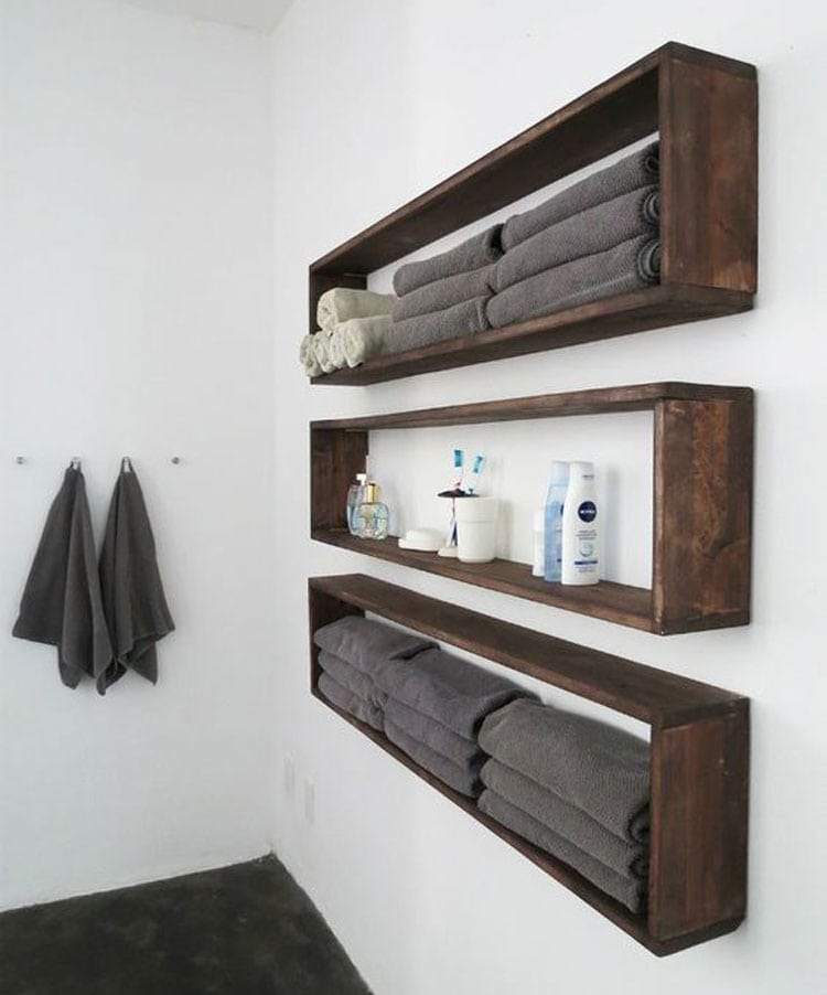 Masculine Bathroom Storage For Men with Wooden Shelves