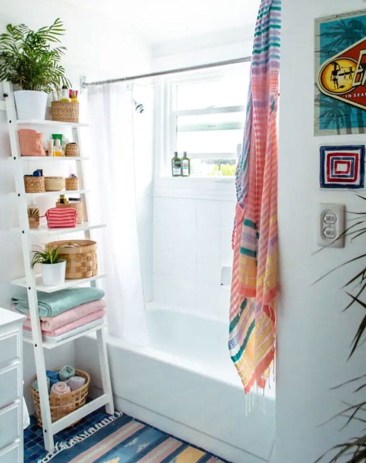 Modern Bath Products Storage with Pops of Color