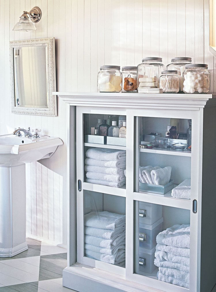 Modern Bathroom Storage with Glass Doors