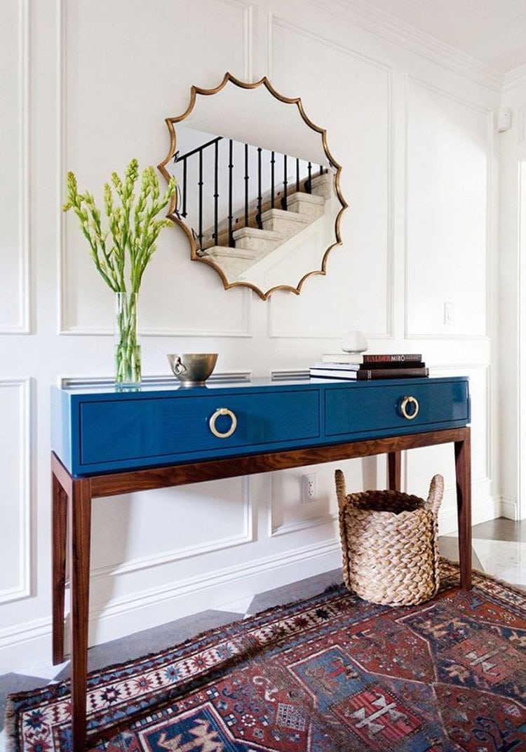 Modern Blue Entryway Table with Mirror and Simple Decor