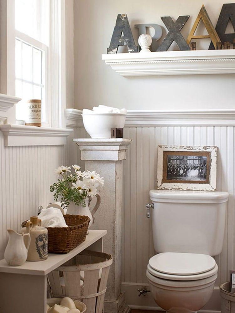 Modern Tiny Bathroom Look with Unique Storage Decor