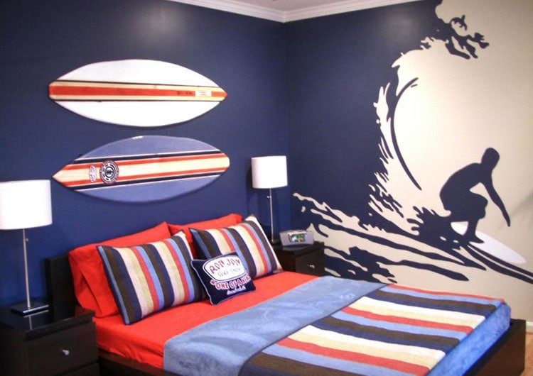 Surfing-Themed Boy's Room Idea with Dazzling Mural
