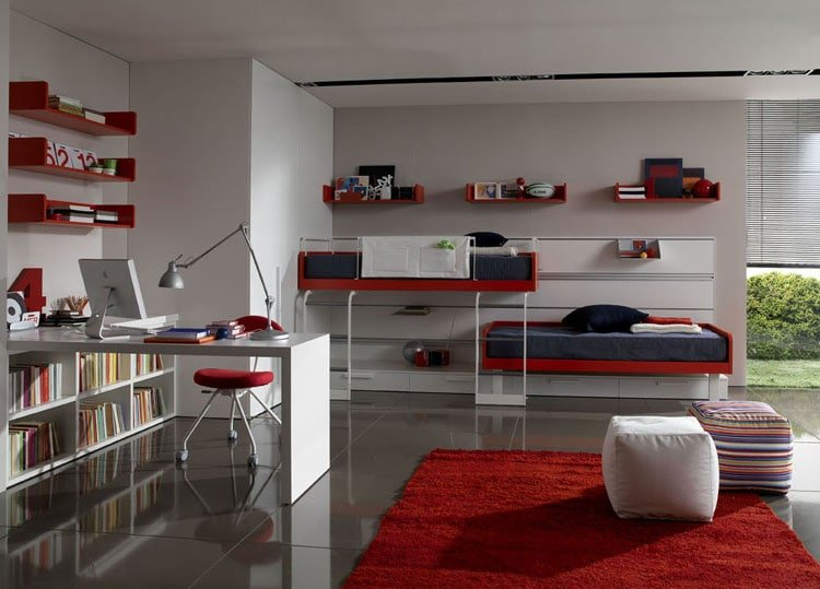 Swanky Boy's Bedroom in Red and White