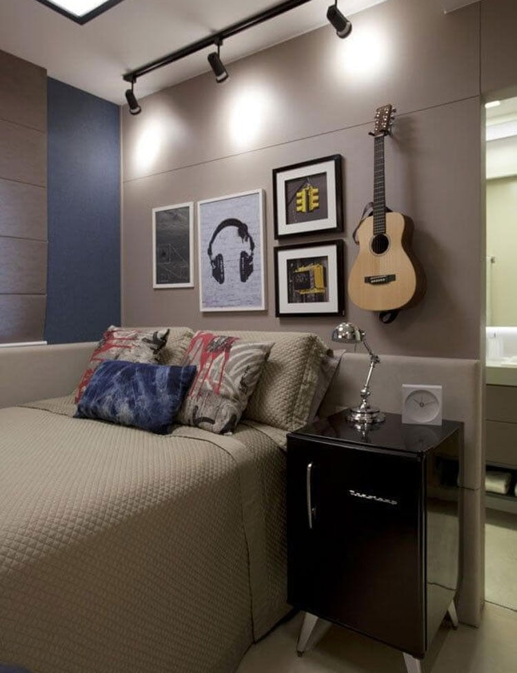 Teen Boy's Room with Mini-fridge and Gallery Wall
