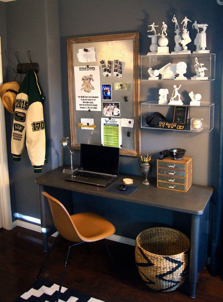 Teenage Guy's Room with Trophy Display