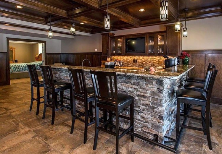 Awesome Stone Bar Top with Classy Kitchen Tiles and Cabinets