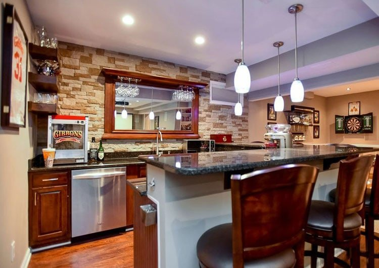 Basement Kitchen and Bar For Fun Game Nights