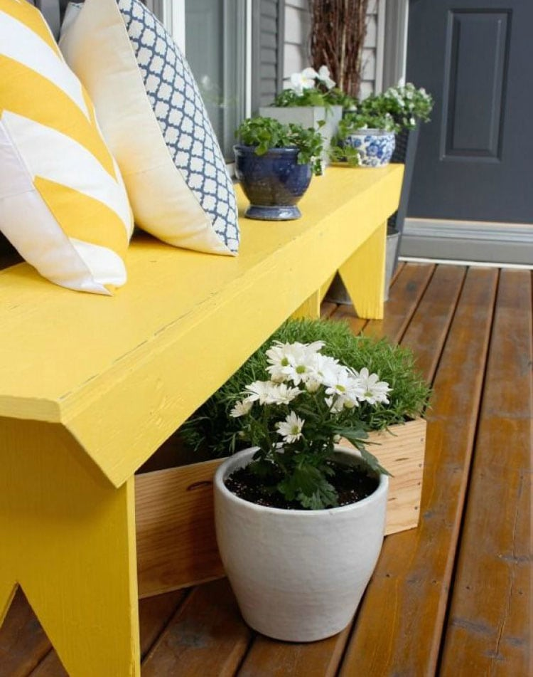 Beautiful Front Porch Bench with Flower Pot Ideas