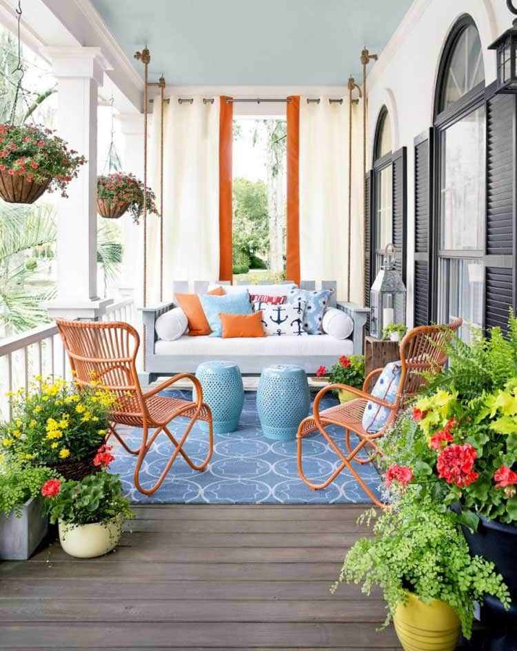 Best Front Door Flower Pots with Cool Porch Sitting Area