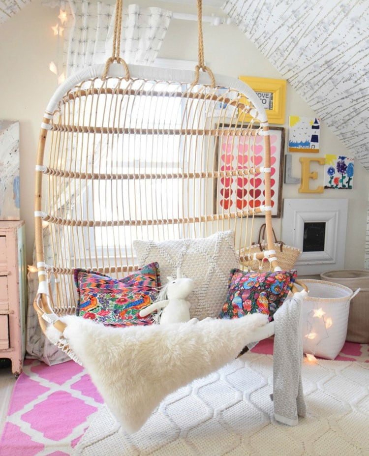 Bohemian Teen Bedroom with Cool Hanging Chair