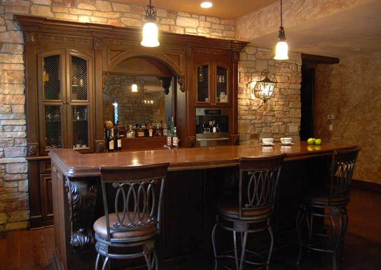 Chic Home Bar Top, Shelving and Cabinetry