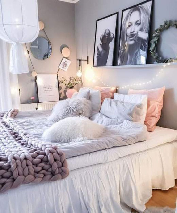Cool Girl's Bedroom Design with Sleek Bedding and Classy Art