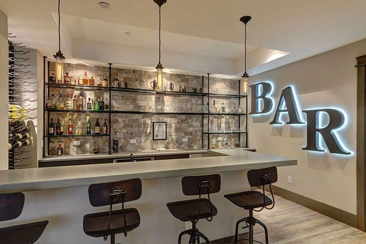 Cool Home Bar with Simple Top, Shelf and Wall Decor