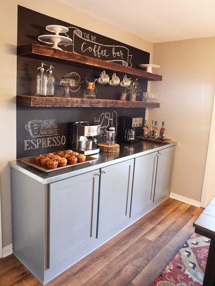 Creative Bar Shelf, Top, and Chalkboard Wall Art