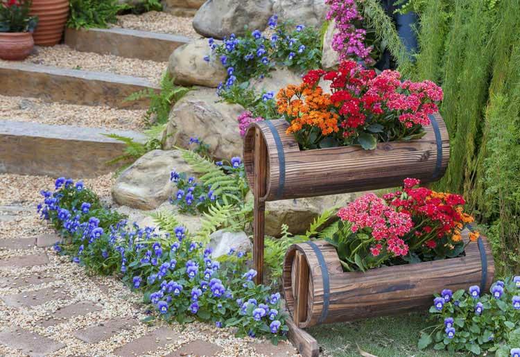 Creative Front Door Stairs Flower Planters