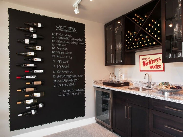 Creative Wine Display and Menu For Kitchen Wall