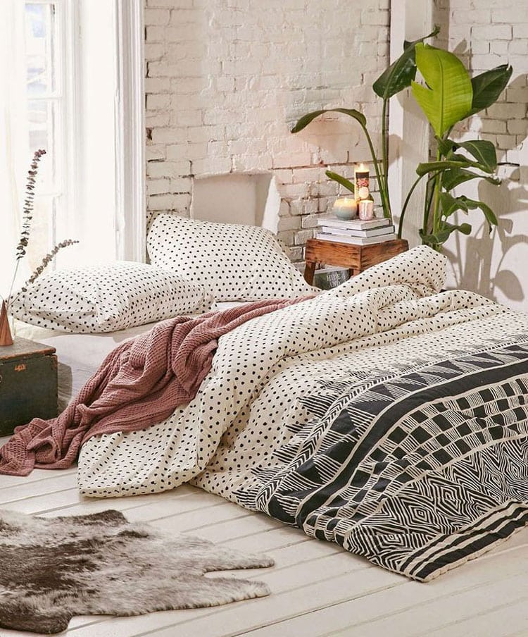 Cute Bohemian Teen Room with Low Bed and Modern Bedding