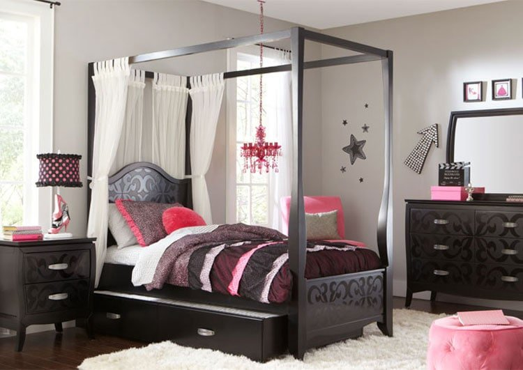 Cute Girl's Bedroom with Vintage Furniture