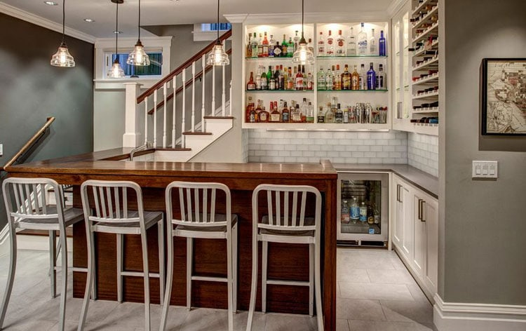 Design A Beautiful Basement Bar with Built-In Cabinets and Shelves For Style Continuity