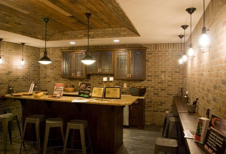 Downstairs Bar with Old School Light Fixtures and Brick Walls