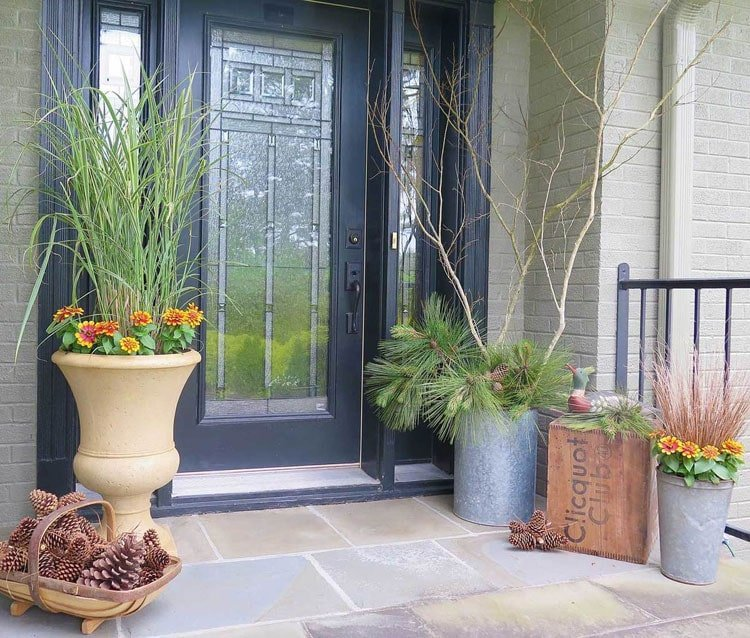 Fall Front Porch Flower Decorations
