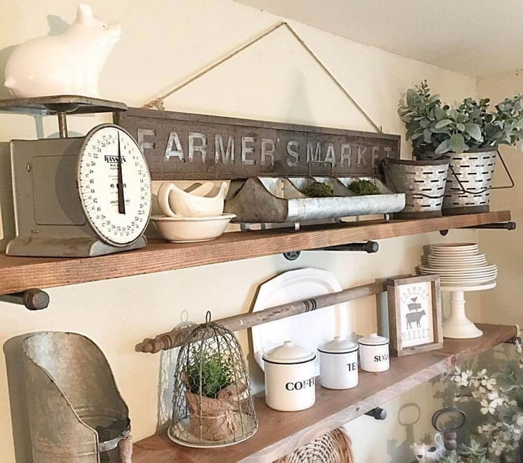 Farmhouse Kitchen Wall Shelves with Decorations