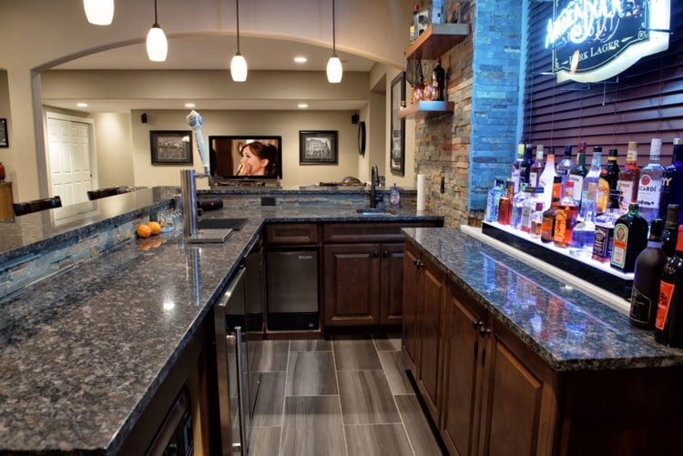 Finished Bar Countertop with Modern Flair