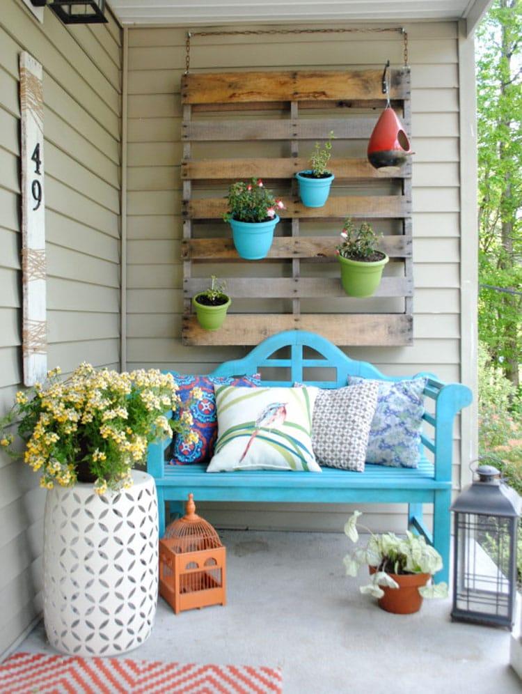 Front Door Flower Arrangement Ideas with Bench and Planter
