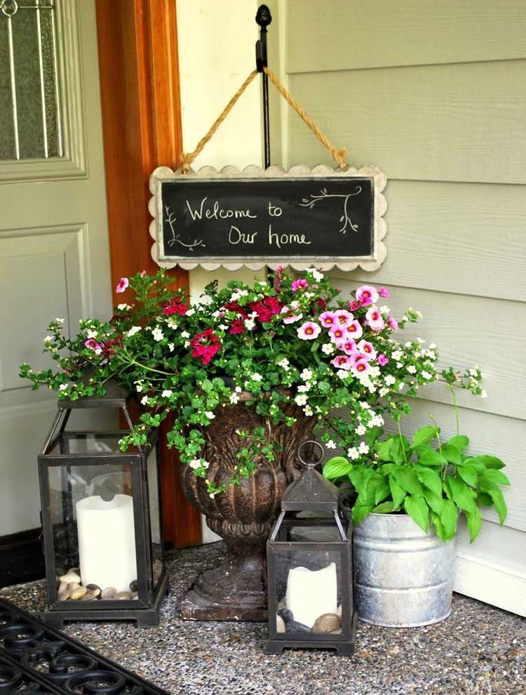 Front Porch Flower Pot with Candles and Welcome Sign