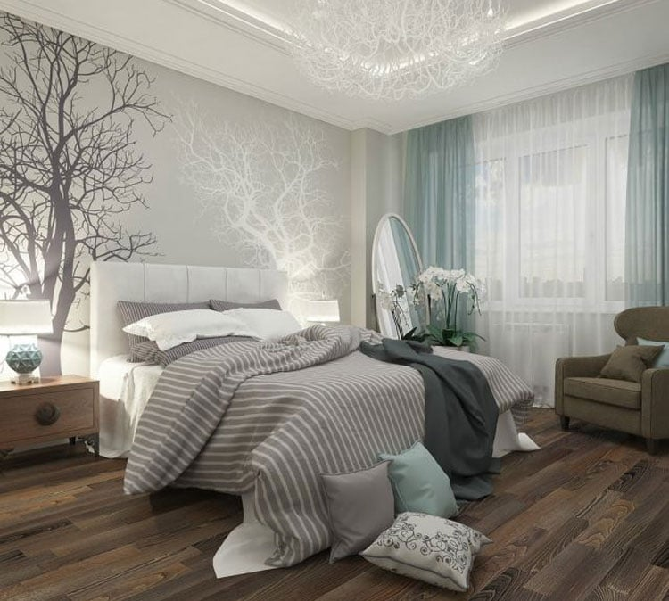 Gray, White and Blue Bedroom for College Teens